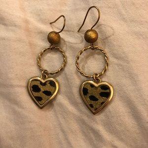 Betsey Johnson Gold Heart Cheetah Earring